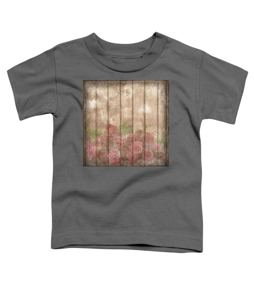 Faded Red Country Roses On Wood Toddler T-Shirt