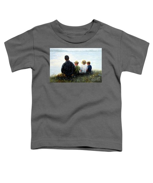 Father Three Sons By Lake Toddler T-Shirt