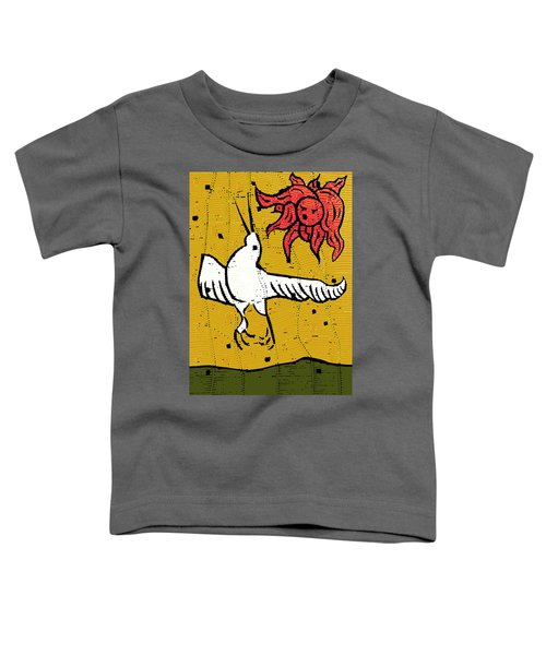 Flying Bird And Red Sun Face Toddler T-Shirt