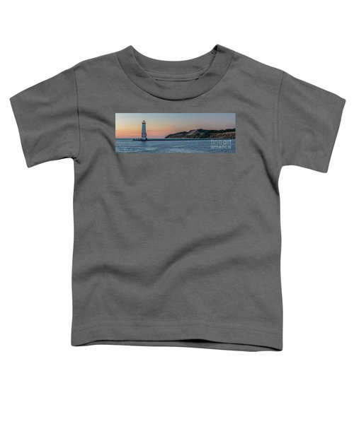 Frankfort North Breakwater Lighthouse Dusk Panorama Toddler T-Shirt