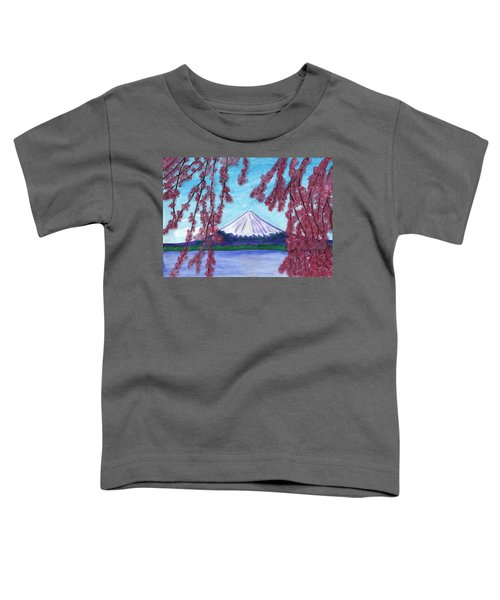 Sakura Blooming On The Background Of A Snowy Mountain Toddler T-Shirt
