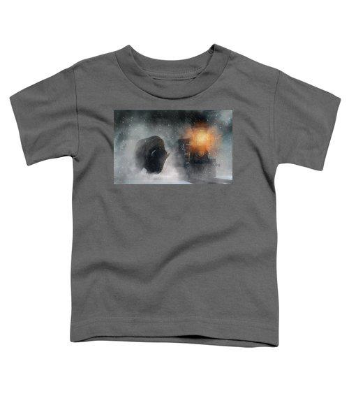 Giant Buffalo Attacking Train Toddler T-Shirt