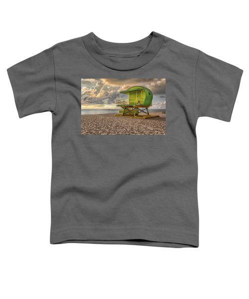 Toddler T-Shirt featuring the photograph Green Lifeguard Stand by Alison Frank