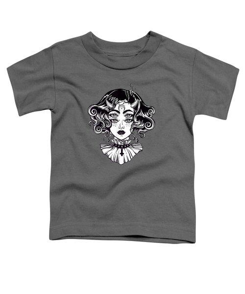 Horned Devil Girl Tshirt - Satanic Halloween Glitch Goth Tee Toddler T-Shirt