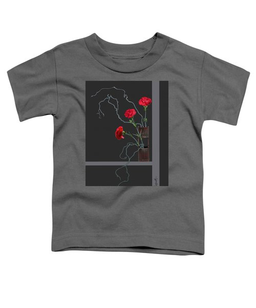 Red Carnations And Bamboo Vase Toddler T-Shirt
