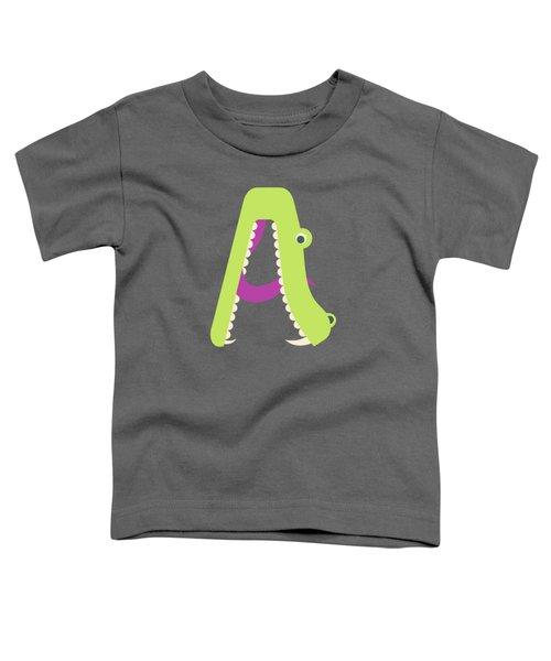 Letter A - Animal Alphabet - Alligator Monogram Toddler T-Shirt