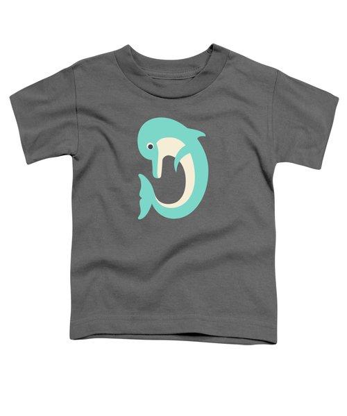 Letter D - Animal Alphabet - Dolphin Monogram Toddler T-Shirt