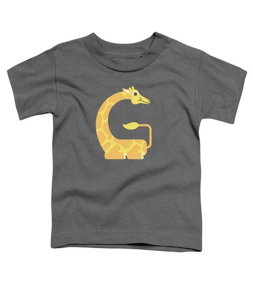 Letter G - Animal Alphabet - Giraffe Monogram Toddler T-Shirt