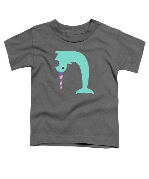 Letter N - Animal Alphabet - Narwhal Monogram Toddler T-Shirt