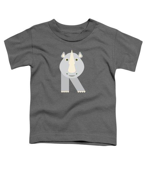 Letter R - Animal Alphabet - Rhino Monogram Toddler T-Shirt