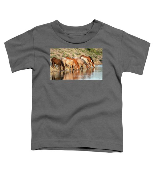 Lineup At The Pond-- Wild Horses Toddler T-Shirt