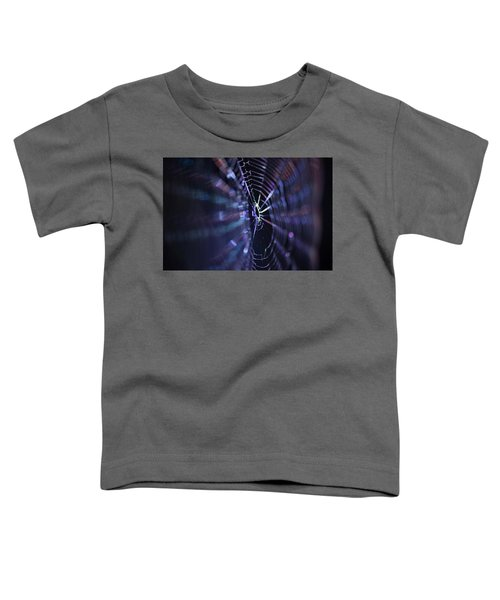 Macro Of A Spiders Web Captured At Night. Toddler T-Shirt