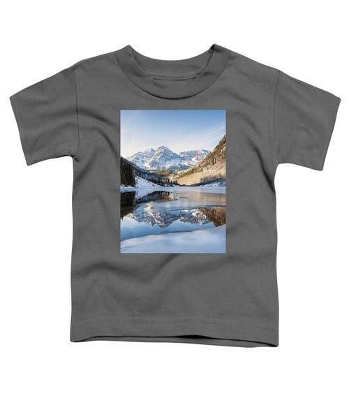Maroon Bells Reflection Winter Toddler T-Shirt