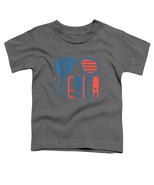 Merica American Flag Aviators Toddler Tshirt 4th July White Toddler T-Shirt