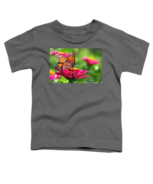 Monarch Visiting Zinnia Toddler T-Shirt