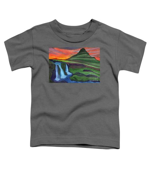 Mountain And Waterfall In The Rays Of The Setting Sun Toddler T-Shirt