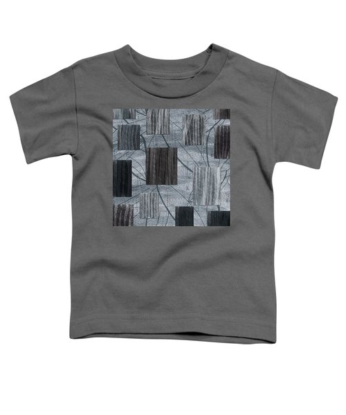 Neutral Toned Leaf Square Print Toddler T-Shirt