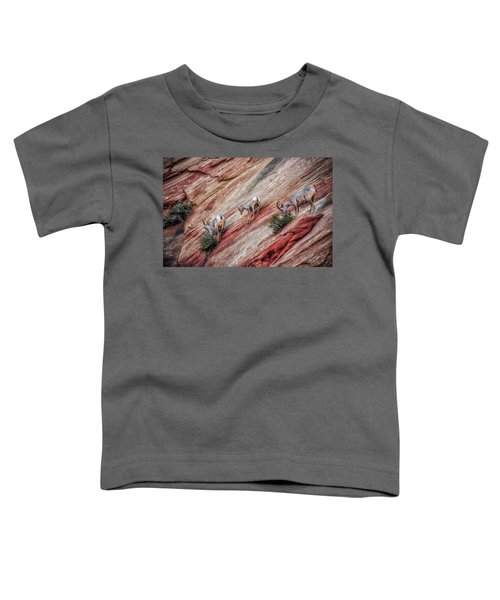 Toddler T-Shirt featuring the photograph Nimble Mountain Goats 5694 by Donald Brown