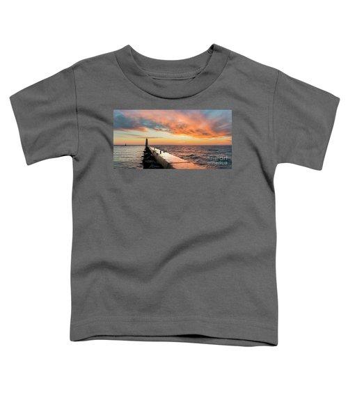 Orange Skies Over Frankfort Lighthouse Toddler T-Shirt