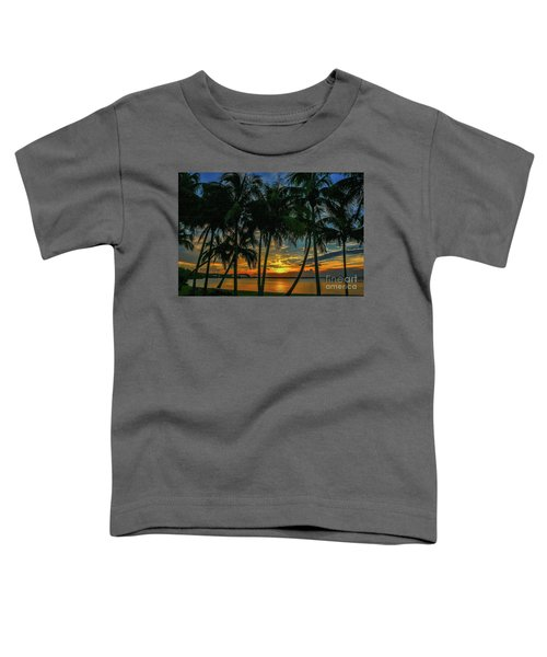 Palm Tree Lagoon Sunrise Toddler T-Shirt