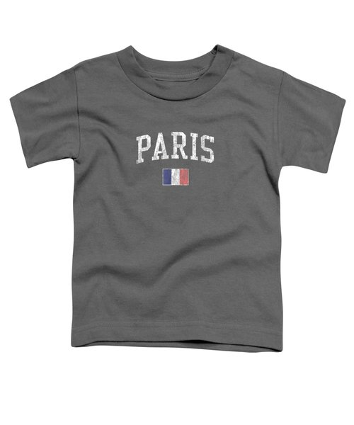 Paris France T-shirt Vintage Sports Design French Flag Tee Toddler T-Shirt