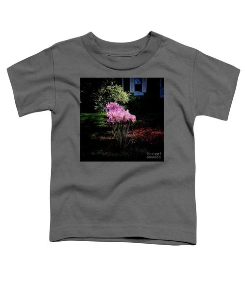 Pink Sunlit Flowers In The Neighborhood Toddler T-Shirt