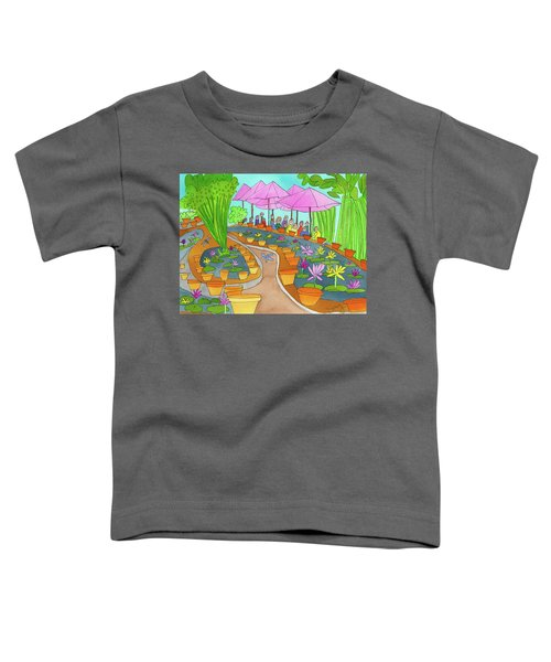 Pink Umbrella And Lilies Toddler T-Shirt