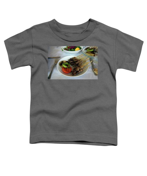Plate Of Kebabs And Salad For Lunch Toddler T-Shirt