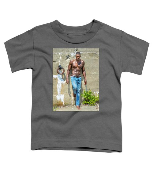 Portrait Of  Young Black Fitness Guy Toddler T-Shirt