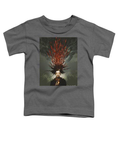 Toddler T-Shirt featuring the painting Prey With A Gun by Tithi Luadthong