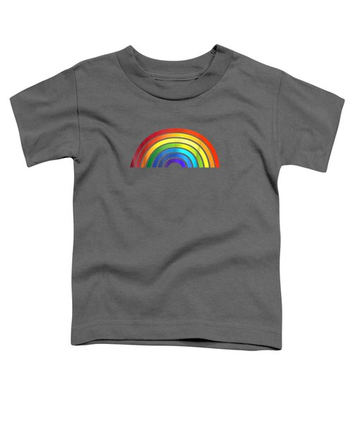 Rainbow T-shirt Simple Style Basic Glossy Stripe Design Toddler T-Shirt
