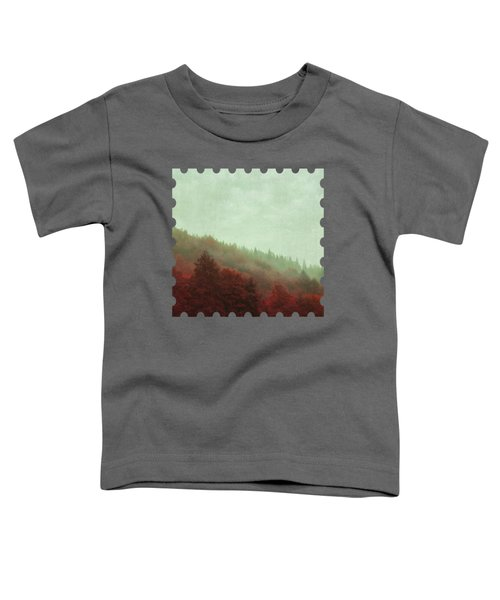 Retro Red Forest In Fog Toddler T-Shirt