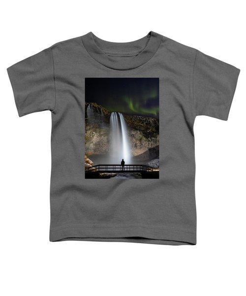 Seljalandsfoss Northern Lights Silhouette Toddler T-Shirt