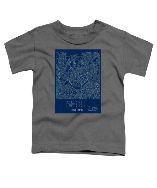 Seoul Blueprint City Map Toddler T-Shirt