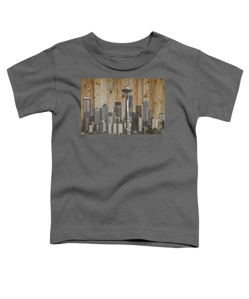 Skyline Of Seattle, Usa On Wood Toddler T-Shirt