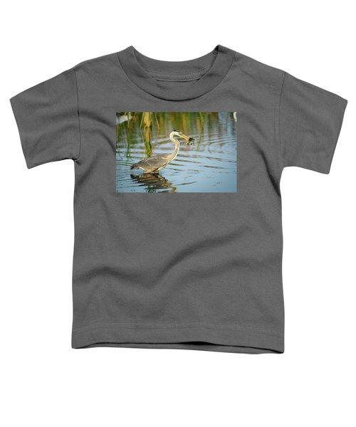 Toddler T-Shirt featuring the photograph Snack Time For Blue Heron by Donald Brown