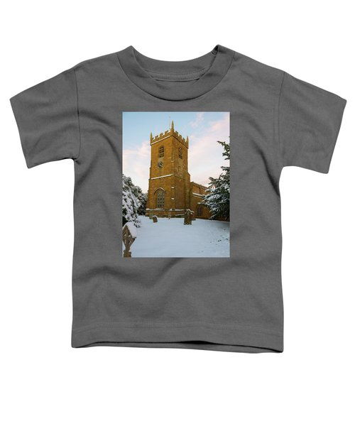 Stone Church In The Snow At Sunset Toddler T-Shirt