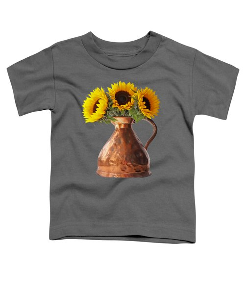 Sunflowers In Copper Pitcher On Black Toddler T-Shirt