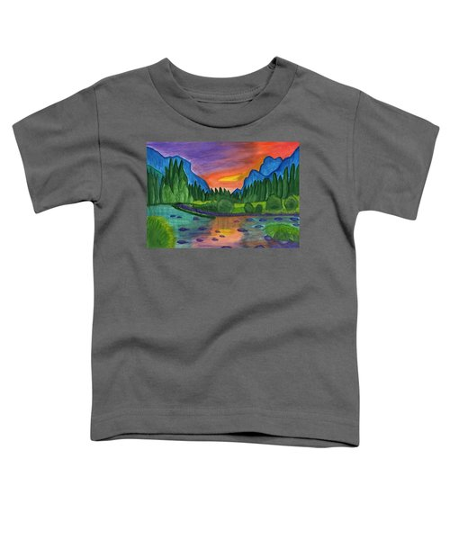 Mountain River In The Background Of The Forest And The Blue Mountains At Sunset Toddler T-Shirt