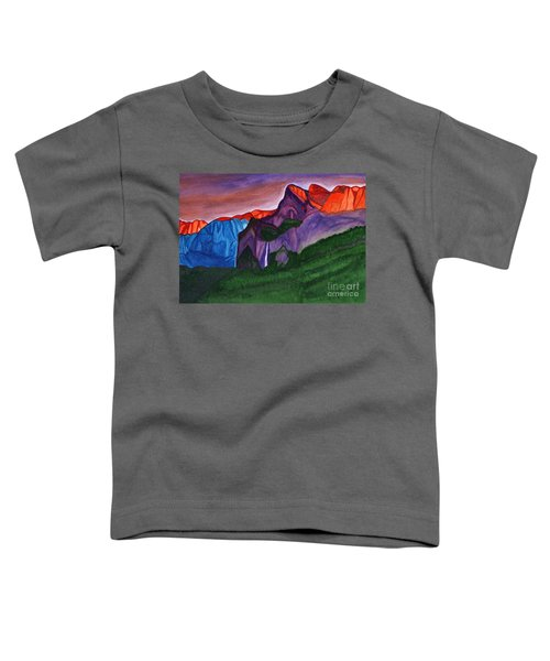 Snowy Peaks Of The Mountains With A Waterfall Lit Up By The Orange Dawn Toddler T-Shirt