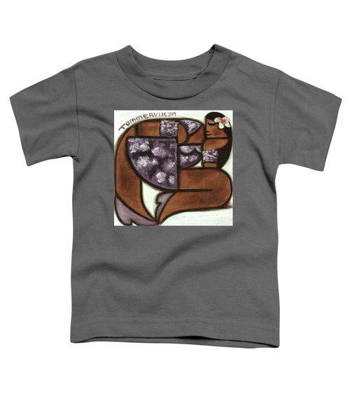 Tommervik Hawaiian Woman Wearing Purple Flower Dress Art Print Toddler T-Shirt