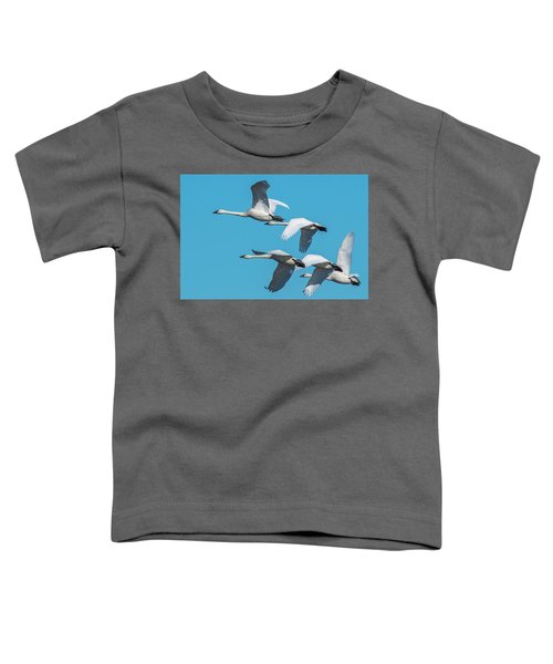 Toddler T-Shirt featuring the photograph Tundra Swans In Flight by Donald Brown