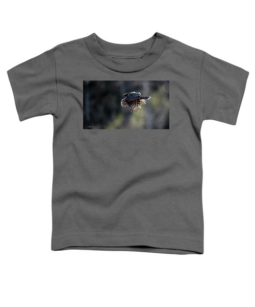 Ural Owl Flying Against The Light To Catch A Prey  Toddler T-Shirt