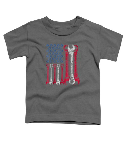 Usa Red White Blue American Flag Mechanic T-shirt Toddler T-Shirt