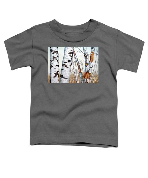 Wild Birch Trees In The Forest In Watercolor Toddler T-Shirt
