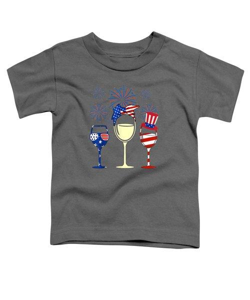 Wine Glasses American Flag Firework 4th Of July Tshirt Gift Toddler T-Shirt