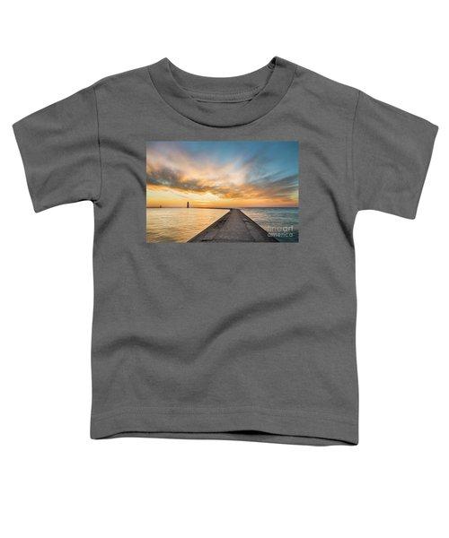 Winter Sunset Over Frankfort Pier Toddler T-Shirt