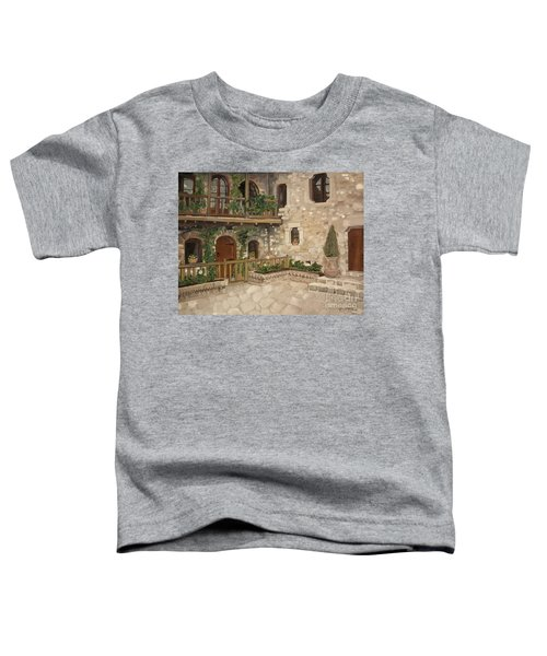 Greek Courtyard - Agiou Stefanou Monastery -balcony Toddler T-Shirt