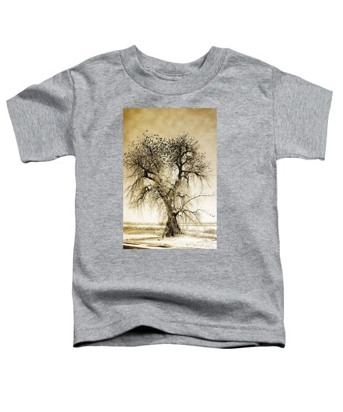 Bird Tree Fine Art  Mono Tone And Textured Toddler T-Shirt