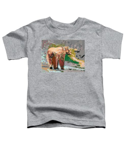 081914 Pastel Painting Grizzly Bear Toddler T-Shirt